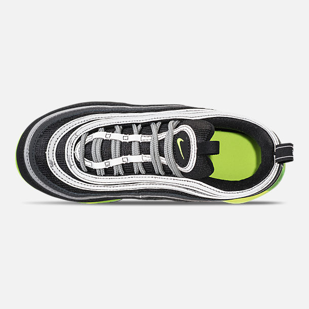 Top view of Kids' Nike Air VaporMax '97 Casual Shoes in Black/Volt/Metallic Silver/Anthracite