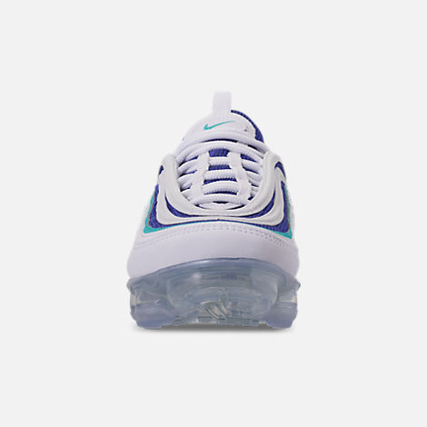 Front view of Kids' Nike Air VaporMax '97 Casual Shoes in White/Indigo Burst/Hyper Jade