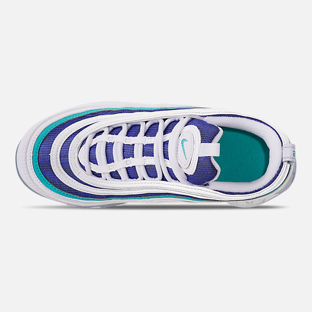 Top view of Kids' Nike Air VaporMax '97 Casual Shoes in White/Indigo Burst/Hyper Jade