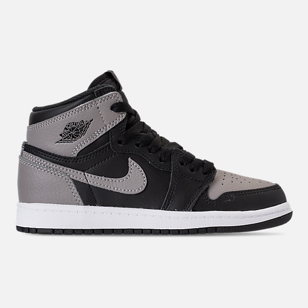 Right view of Kids' Preschool Air Jordan Retro 1 High OG Casual Shoes in Black/Medium Grey/White/Shadow