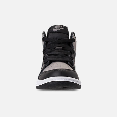 Front view of Kids' Preschool Air Jordan Retro 1 High OG Casual Shoes in Black/Medium Grey/White/Shadow