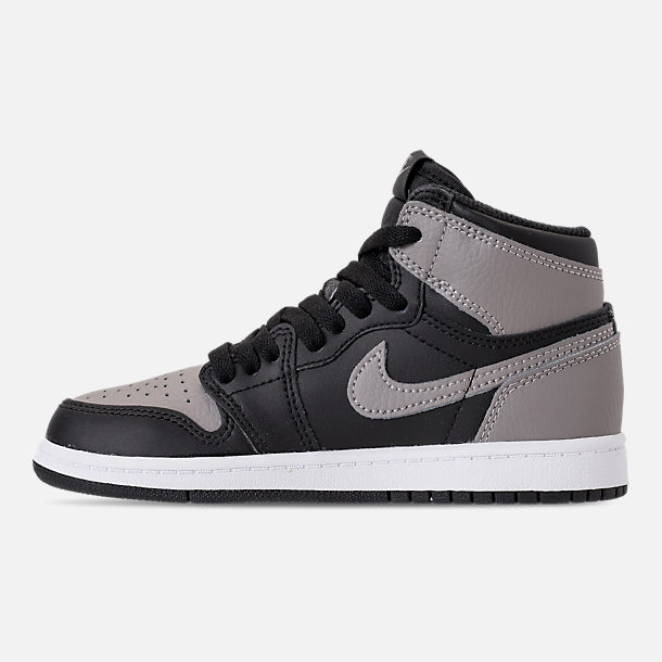 Left view of Kids' Preschool Air Jordan Retro 1 High OG Casual Shoes in Black/Medium Grey/White/Shadow