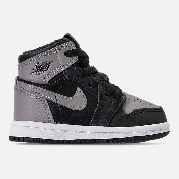 Right view of Kids' Toddler Air Jordan Retro 1 High OG Casual Shoes in Black/Medium Grey/White/Shadow