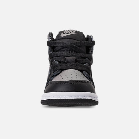 Front view of Kids' Toddler Air Jordan Retro 1 High OG Casual Shoes in Black/Medium Grey/White/Shadow