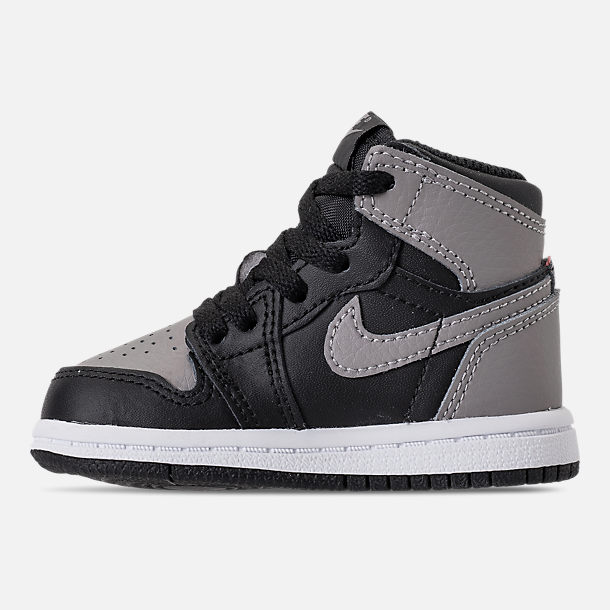 Left view of Kids' Toddler Air Jordan Retro 1 High OG Casual Shoes in Black/Medium Grey/White/Shadow