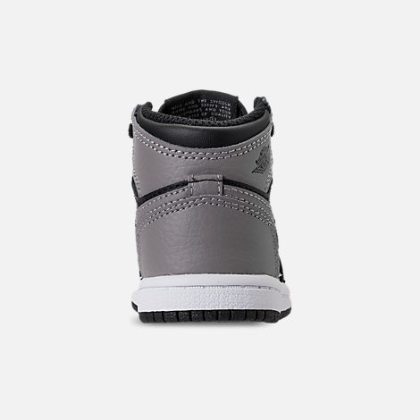 Back view of Kids' Toddler Air Jordan Retro 1 High OG Casual Shoes in Black/Medium Grey/White/Shadow
