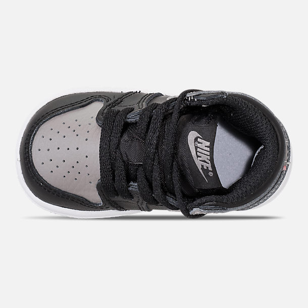 Top view of Kids' Toddler Air Jordan Retro 1 High OG Casual Shoes in Black/Medium Grey/White/Shadow