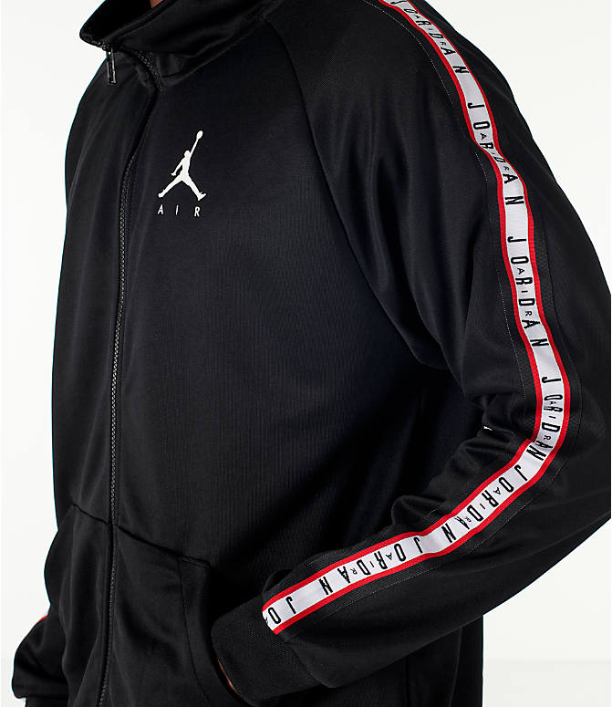 Detail 2 view of Men's Jordan Sportswear Jumpman Taped Tricot Jacket in Black