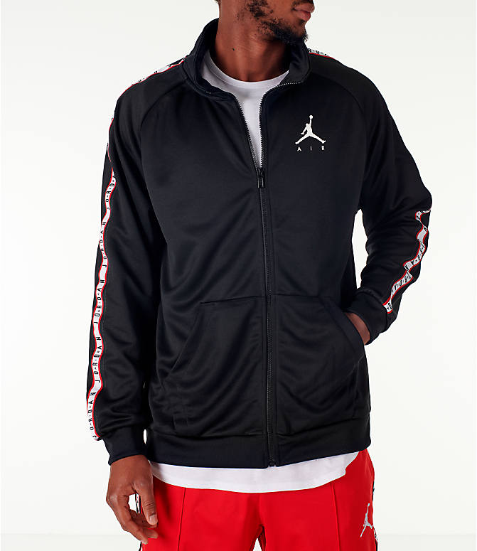 Front view of Men's Jordan Sportswear Jumpman Taped Tricot Jacket in Black