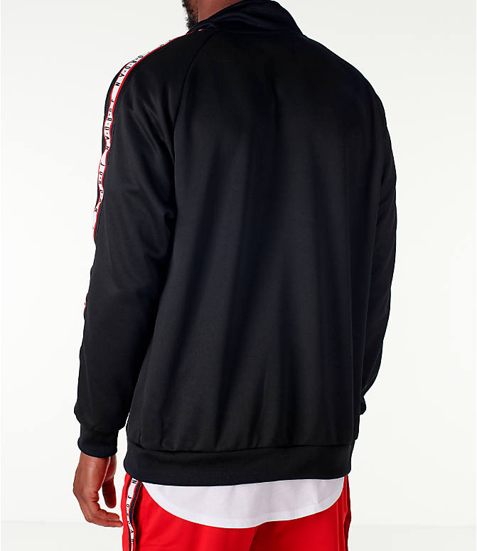 Back Left view of Men's Jordan Sportswear Jumpman Taped Tricot Jacket in Black