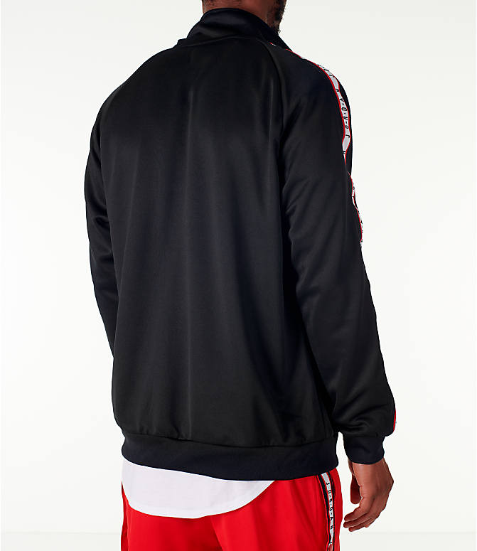 Back Right view of Men's Jordan Sportswear Jumpman Taped Tricot Jacket in Black