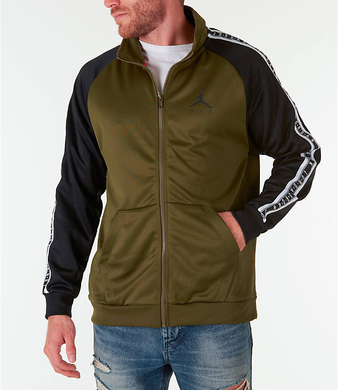 0afbb35f76ab6e Front view of Men s Jordan Sportswear Jumpman Taped Tricot Jacket in  Olive Black
