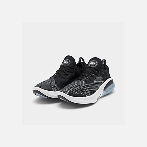 Three Quarter view of Women's Nike Joyride Run Flyknit Running Shoes in Black/Black/White