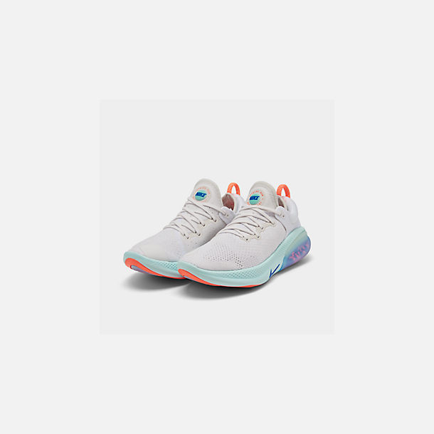 Three Quarter view of Women's Nike Joyride Run Flyknit Running Shoes in White/Racer Blue/Platinum Tint