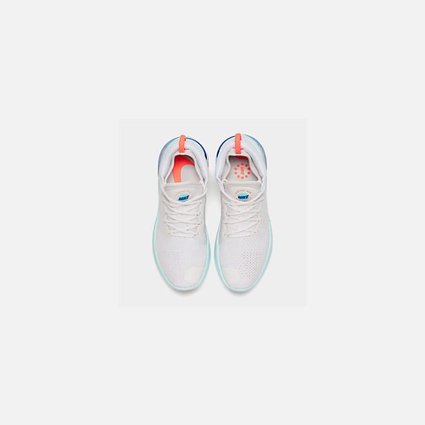 Back view of Women's Nike Joyride Run Flyknit Running Shoes in White/Racer Blue/Platinum Tint