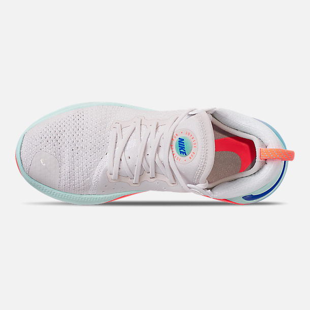 Top view of Women's Nike Joyride Run Flyknit Running Shoes in White/Racer Blue/Platinum Tint
