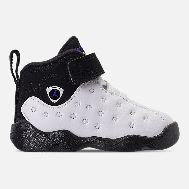 Right view of Boys' Toddler Jordan Jumpman Team II Basketball Shoes in White/Dark Concord/Black