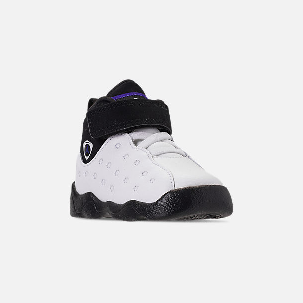 Three Quarter view of Boys' Toddler Jordan Jumpman Team II Basketball Shoes in White/Dark Concord/Black
