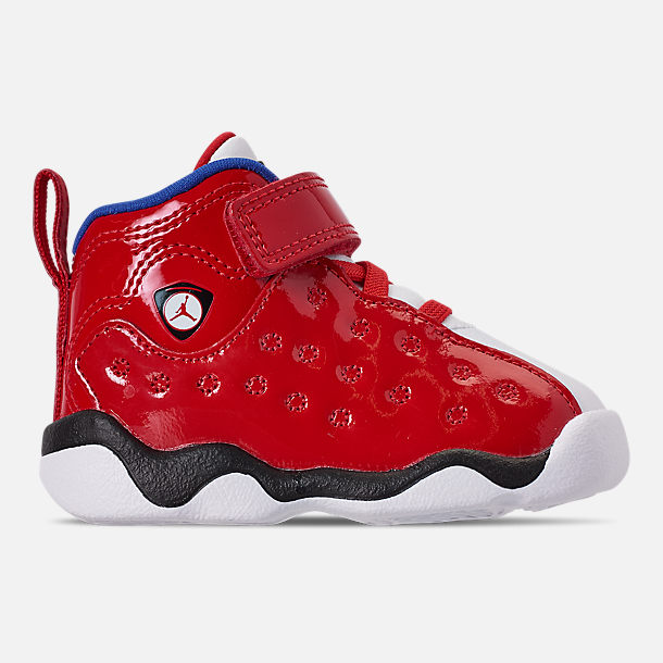 Right view of Boys' Toddler Jordan Jumpman Team II Basketball Shoes in University Red/Hyper Royal