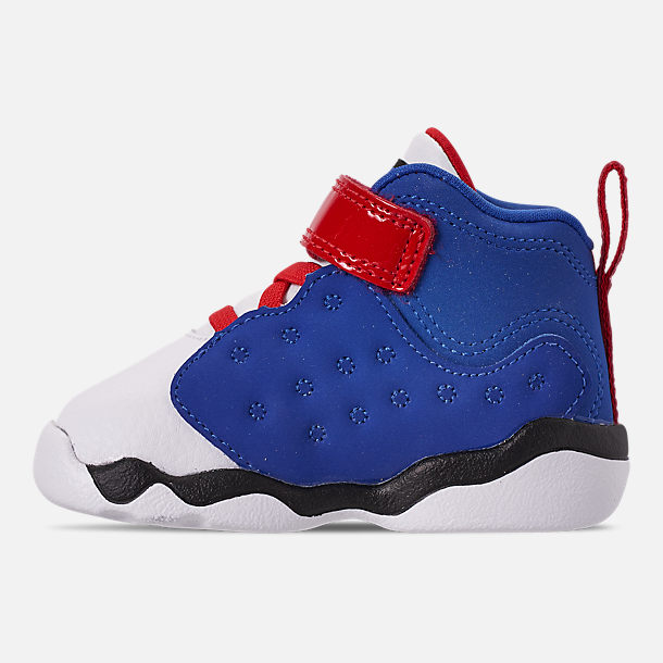 Left view of Boys' Toddler Jordan Jumpman Team II Basketball Shoes in University Red/Hyper Royal