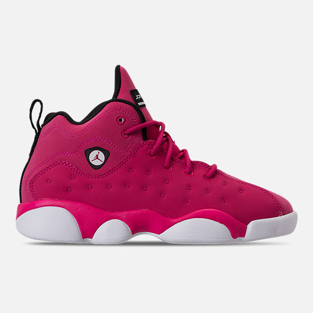 Right view of Girls' Little Kids' Jordan Jumpman Team II Basketball Shoes in Rush Pink/Rush Pink/Black/Dark Smoke