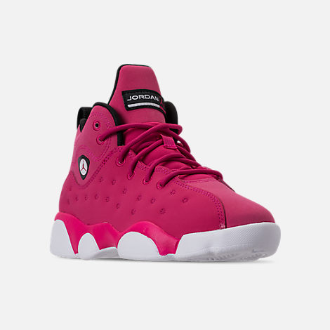 Three Quarter view of Girls' Little Kids' Jordan Jumpman Team II Basketball Shoes in Rush Pink/Rush Pink/Black/Dark Smoke