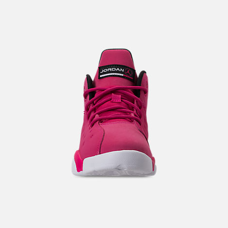 Front view of Girls' Little Kids' Jordan Jumpman Team II Basketball Shoes in Rush Pink/Rush Pink/Black/Dark Smoke