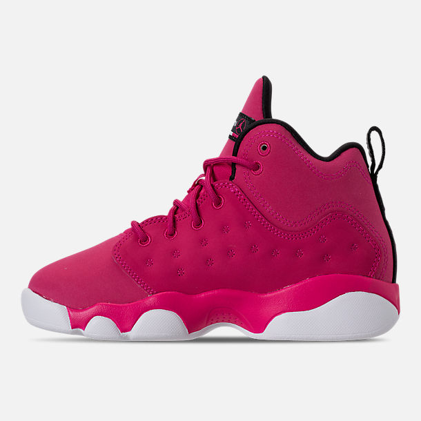 Left view of Girls' Little Kids' Jordan Jumpman Team II Basketball Shoes in Rush Pink/Rush Pink/Black/Dark Smoke