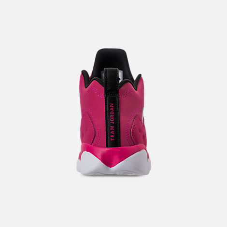 Back view of Girls' Little Kids' Jordan Jumpman Team II Basketball Shoes in Rush Pink/Rush Pink/Black/Dark Smoke
