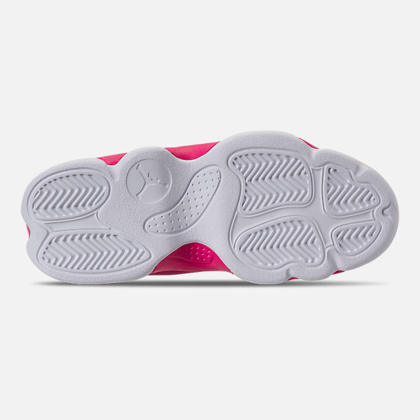 Bottom view of Girls' Little Kids' Jordan Jumpman Team II Basketball Shoes in Rush Pink/Rush Pink/Black/Dark Smoke
