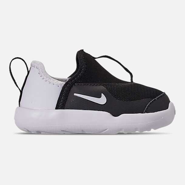 Right view of Boys  Toddler Nike Lil  Swoosh Running Shoes in Black White 7ac581171