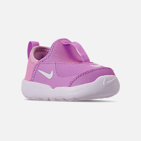 Three Quarter view of Girls' Toddler Nike Lil' Swoosh Running Shoes in Fuchsia Glow/White/Light Arctic Pink
