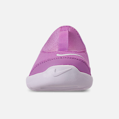 Front view of Girls' Toddler Nike Lil' Swoosh Running Shoes in Fuchsia Glow/White/Light Arctic Pink