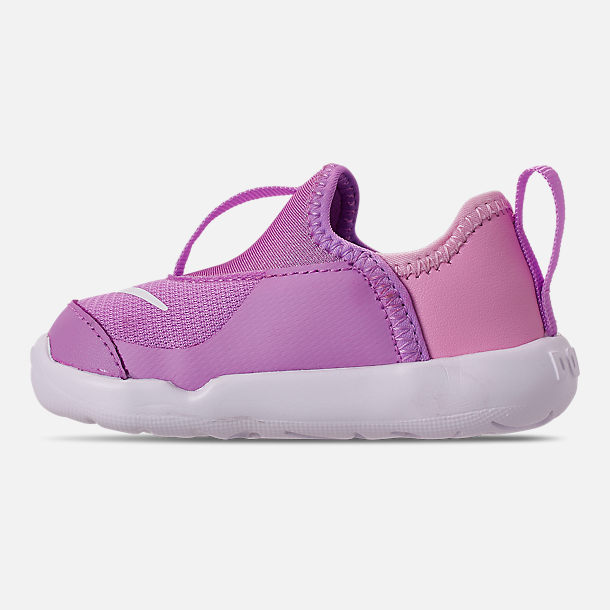 Left view of Girls' Toddler Nike Lil' Swoosh Running Shoes in Fuchsia Glow/White/Light Arctic Pink
