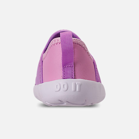 Back view of Girls' Toddler Nike Lil' Swoosh Running Shoes in Fuchsia Glow/White/Light Arctic Pink