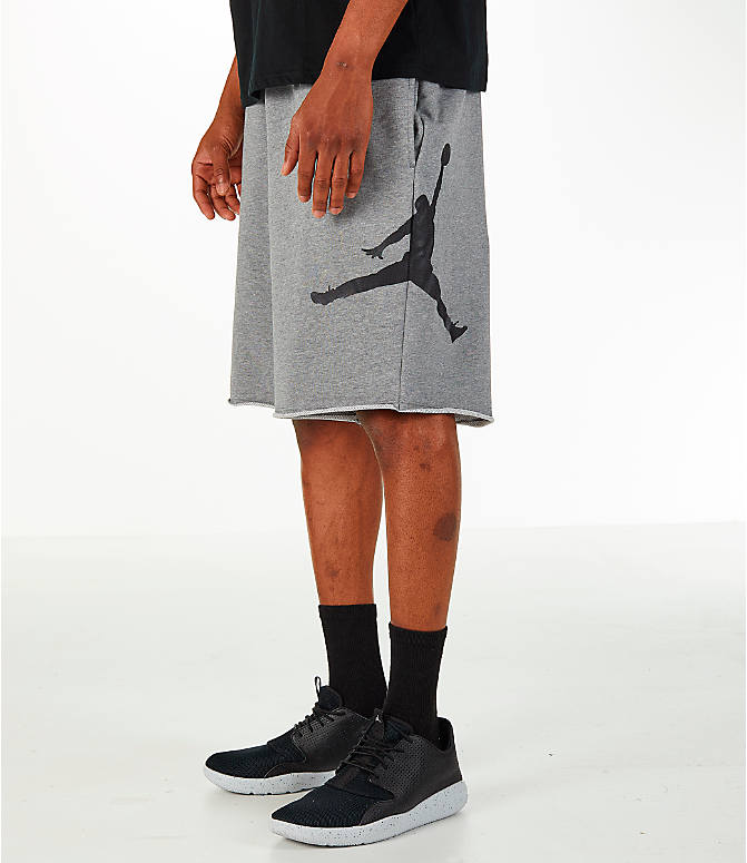 Front view of Men's Jordan Sportswear Air Jumpman Fleece Shorts in Carbon Heather/Black