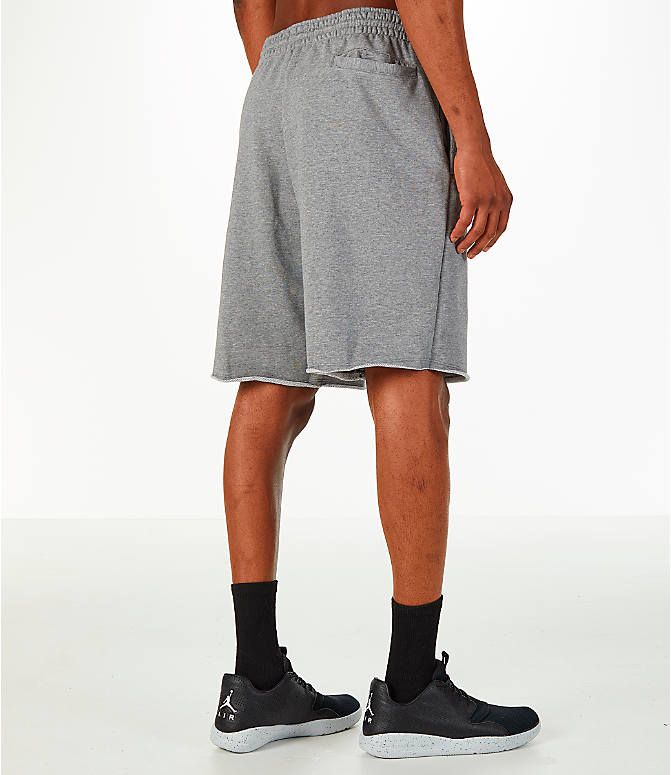 Back Right view of Men's Jordan Sportswear Air Jumpman Fleece Shorts in Carbon Heather/Black