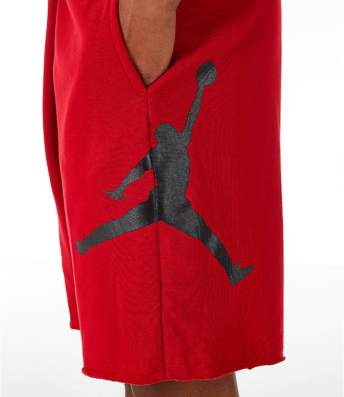 Detail 2 view of Men's Jordan Sportswear Air Jumpman Fleece Shorts in Gym Red