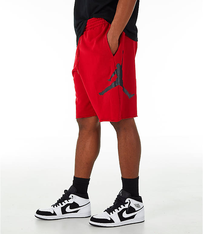 Front view of Men's Jordan Sportswear Air Jumpman Fleece Shorts in Gym Red