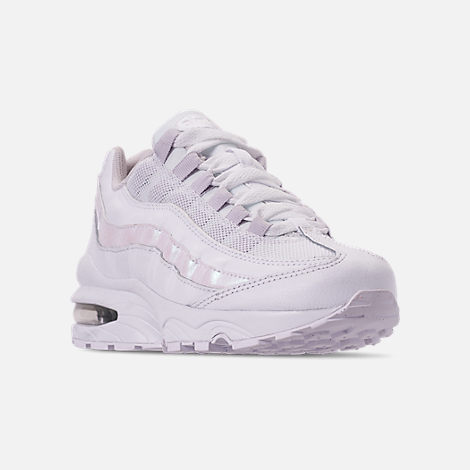 Three Quarter view of Girls' Big Kids' Nike Air Max 95 Casual Shoes in White/White/Vast Grey
