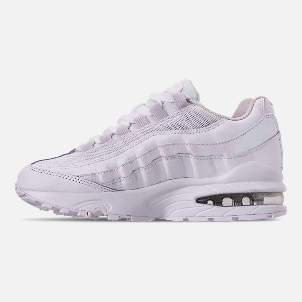 Left view of Girls' Big Kids' Nike Air Max 95 Casual Shoes in White/White/Vast Grey