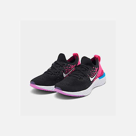 Three Quarter view of Girls' Big Kids' Nike Epic React Flyknit 2 Running Shoes in Black/Racer Pink