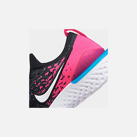 Front view of Girls' Big Kids' Nike Epic React Flyknit 2 Running Shoes in Black/Racer Pink