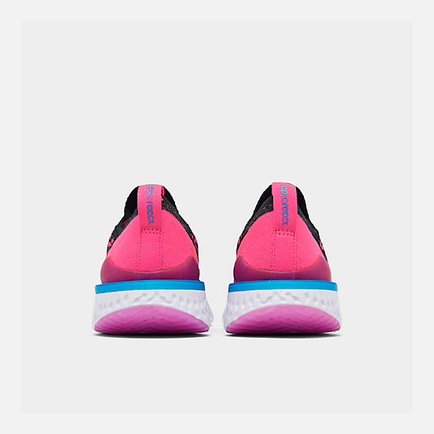 Left view of Girls' Big Kids' Nike Epic React Flyknit 2 Running Shoes in Black/Racer Pink