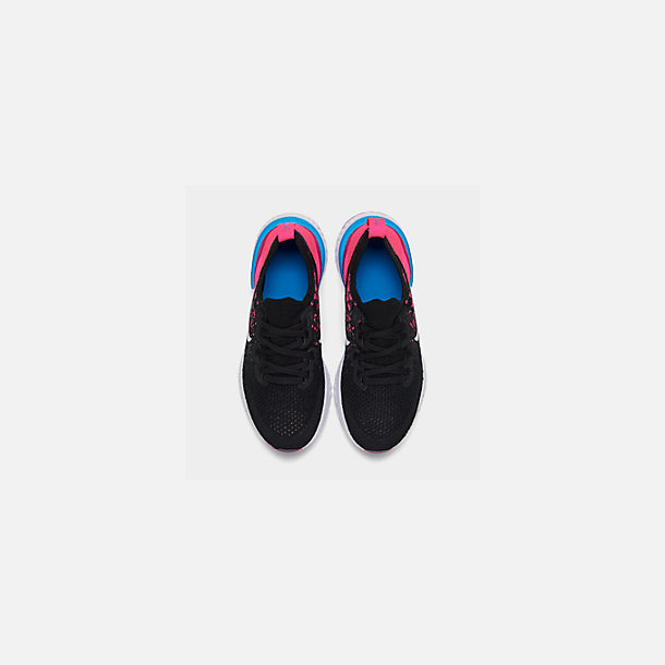 Back view of Girls' Big Kids' Nike Epic React Flyknit 2 Running Shoes in Black/Racer Pink