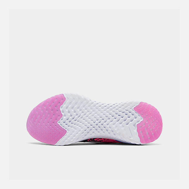Bottom view of Girls' Big Kids' Nike Epic React Flyknit 2 Running Shoes in Black/Racer Pink