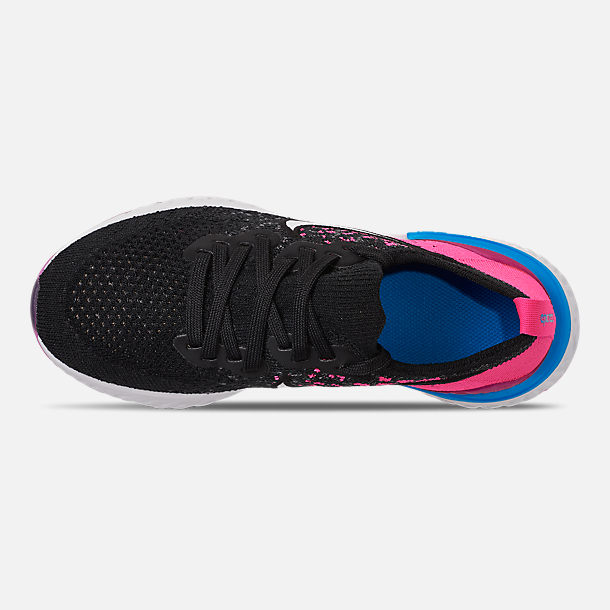 Top view of Girls' Big Kids' Nike Epic React Flyknit 2 Running Shoes in Black/Racer Pink