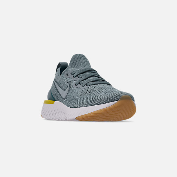 Three Quarter view of Boys' Big Kids' Nike Epic React Flyknit 2 Running Shoes in Aviator Grey/Black/Blue