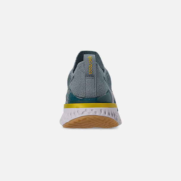 Back view of Boys' Big Kids' Nike Epic React Flyknit 2 Running Shoes in Aviator Grey/Black/Blue