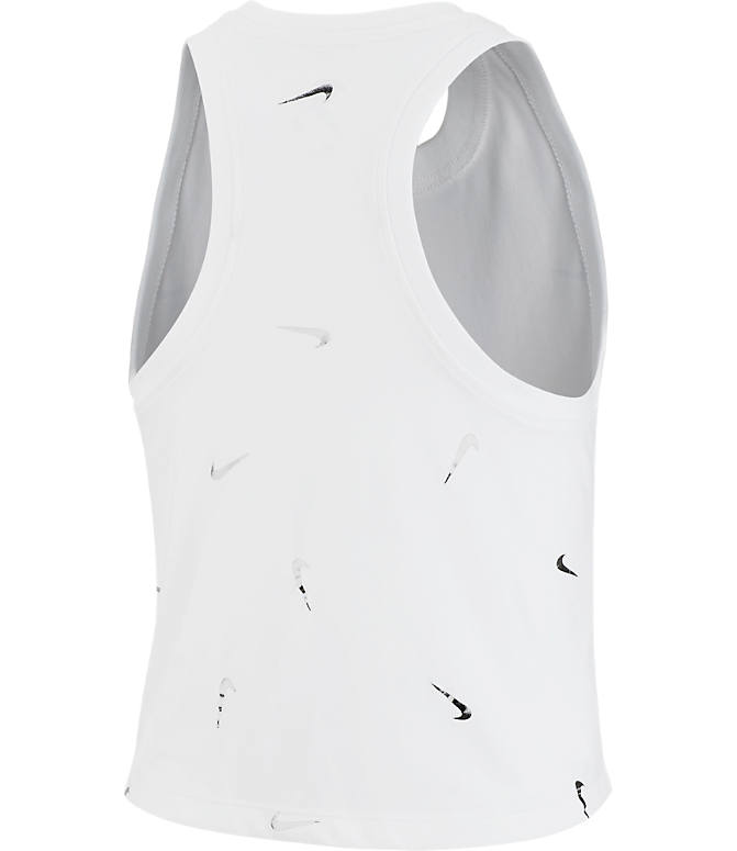 Back view of Women's Nike Dri-FIT Allover Print Swoosh Crop Training Tank Top in White/Black